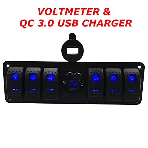 Switchtec 4 6 Gang Rocker Switch Panel w/QC 3.0 USB Charger & Voltmeter, Blue Backlit LED, Pre-Wired, Waterproof Components for Boat, Marine, Car, Truck, Jeep, Can Am, Razor(QC 3.0 & 6 Switch Blue) ()
