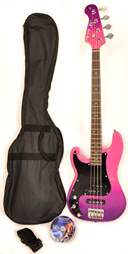 SX GB Rose 1K PPB 7/8 Size Left Handed Purple Bass Guitar with Carry Bag and Strap