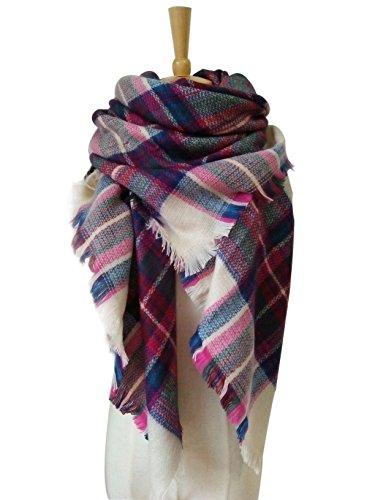 MOLERANI Womens Tassels Soft Plaid Tartan Scarf Winter Large Blanket Wrap Shawl (One Size, 09-2Pink)