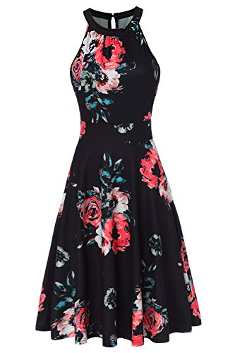 Kranda Women Sleeveless Midi Dress Halter Neck Flare Skirt Dress Black L
