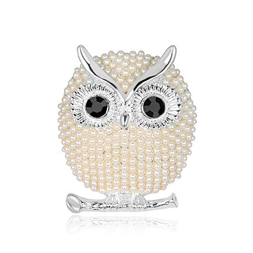 Silver Owl Pin - SloveM Animal Pin Owl Brooch with Pearls Women's Jewelry Accessories Wedding Bride Bouquet (Silver)