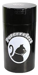 Pawvac 12 Ounce Vacuum Sealed Pet Food Storage Container; Black Cap & Body/White Cat