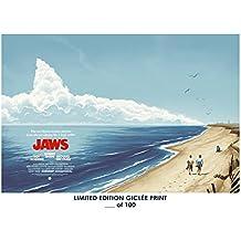 RARE POSTER steven spielberg JAWS movie 1975 classic REPRINT #'d/100!! 12x18