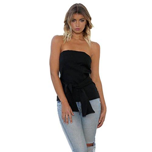 Épaule Noir Blouse Sans Manadlian Décontractée femmes shirts Chemise Bandage Tops Manches T wPTYPqx