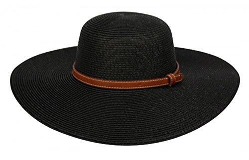 raid Straw Wide Brim Classic Fedora Sun Hat UPF 50+ with Adjustable Drawstring, Brown Band/Black ()