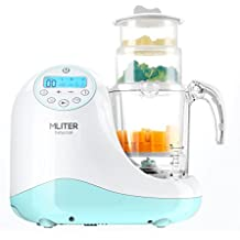 MLITER All in One Baby Food Maker with Steam Cooker, Blender, Chopper, Sterilizer & Warmer for Organic Food Cooking, Pureeing & Reheating - BPA Free Food Processor with 3 Baskets & LCD Display
