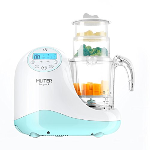 MLITER All in One Baby Food Maker with Steam Cooker, Blender, Chopper, Sterilizer & Warmer for Organic Food Cooking, Pureeing & Reheating - BPA Free Food Processor with 3 Baskets & LCD Display from MLITER