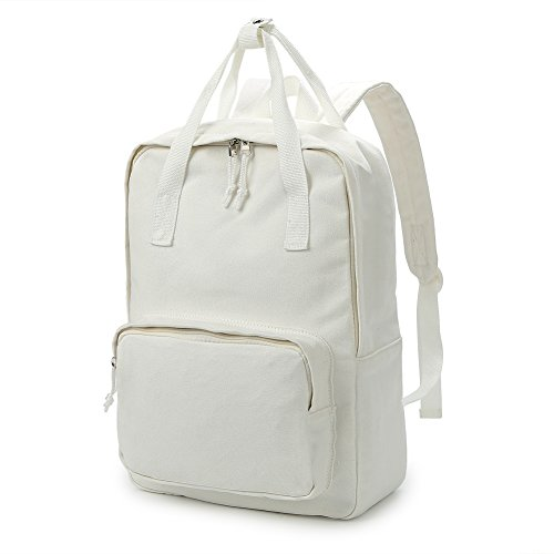 Zicac Unisex DIY Canvas Backpack Daypack Satchel (White 02) -