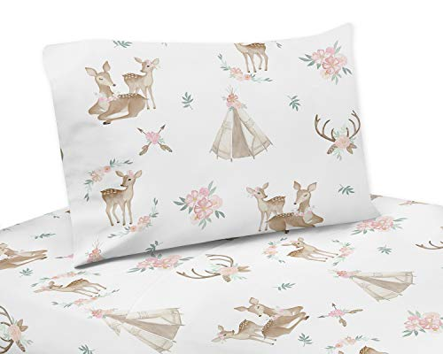 Sweet Jojo Designs Blush Pink, Mint Green and White Boho Twin Sheet Woodland Deer Floral Collection ()