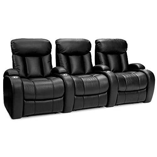 Seatcraft Sausalito Home Theater Seating Manual Recline Leather Gel (Row of 3, Black)
