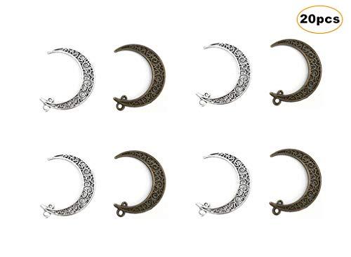 (Kinteshun Hollow Moon Luna Crescent Symbol Filigree Charm Pendant for DIY Jewelry Making Accessaries(20pcs,Antique Silver&Bronze))