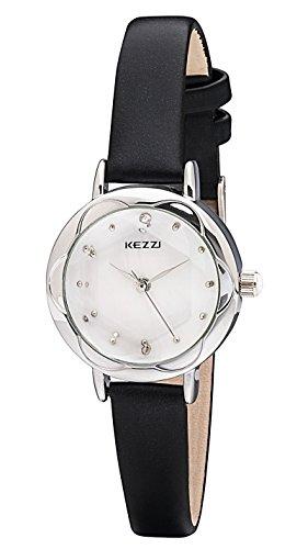 Black Jeweled Ladys Watch - Kezzi Women's Wrist Watches K770 Quartz Analog Dress Leather Casual Classic Watch Waterproof Black