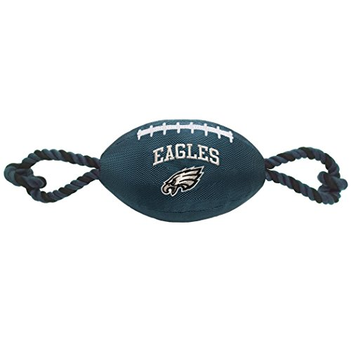 Pets First NFL Philadelphia Eagles Football Dog Toy, Tough Nylon Quality Materials with Strong Pull Ropes & Inner Squeaker in NFL Team Color ()