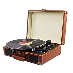 Reproductor de grabación Bluetooth, 33/45/78 RPM Marrón ...