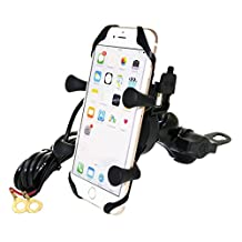 MOTOPOWER MP0609D Bike Motorcycle Cell Phone Mount Holder With USB Charger- For any Smartphone & GPS - Universal Mountain & Road Bicycle Motorcycle Handlebar Holder