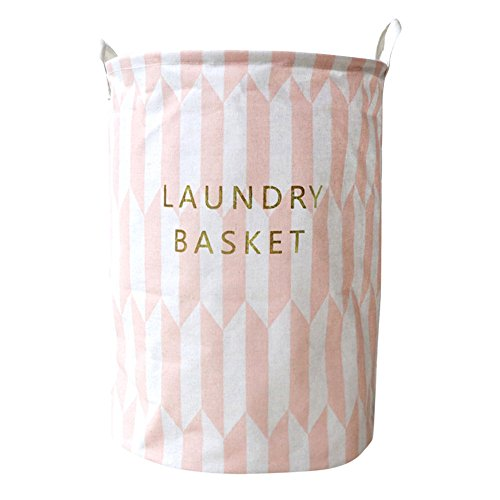 Laundry Basket Foldable,Mikey Store Collapsible Fabric Laundry Hamper Foldable Clothes Washing Bin Clothes Storage Basket Folding Storage Box (Pink)]()