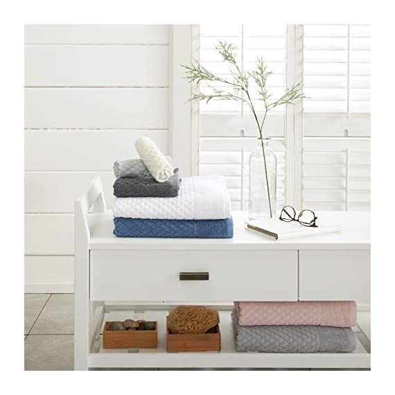 Great Bay Home 100% Cotton Quick-Dry Bath Towel Set (30 x 52 inches) Highly Absorbent, Textured Luxury Bath Towels. Grayson Collection (Set of 4, Optic White) - AFFORDABLE BUNDLE: 4-pack of plush bath towels with a classic and simple pique border and woven detailed pattern. 4 Bath Towels (30 inch x 52 inch) QUICK-DRY, TEXTURED, LATTICE WAFFLE WEAVE: Our Grayson towels are designed to absorb more liquid than ordinary towels, and they dry quickly and completely. SUPER SOFT: These cotton bath towels feel super soft against your skin. Plus, they add a clean and modern look to your bathroom. - bathroom-linens, bathroom, bath-towels - 41hBMWrn2fL. SS570  -