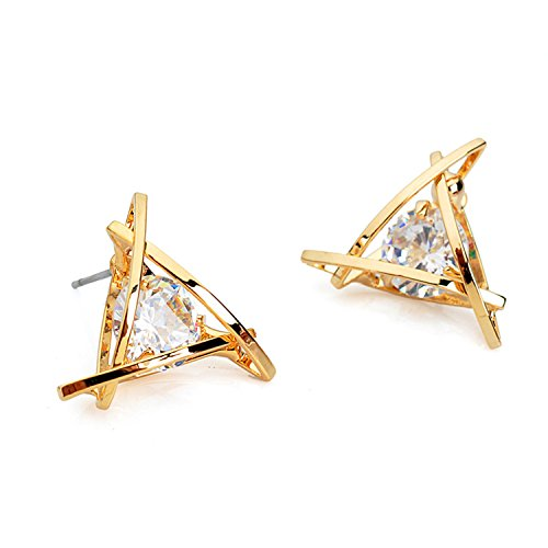 Rose Gold Stud Earrings Triangle Shaped CZ Earrings for Women Expertly Made of Sparkling Starlight Round Cut Cubic Zirconia, ❤Gift for Her❤