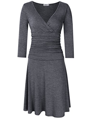 MISSKY Women 3/4 Long Sleeve Crossover Wrap V Neck Ruched Waist Slimming Midi Cocktail Dress Gray (Cotton Long Sleeve Wrap)