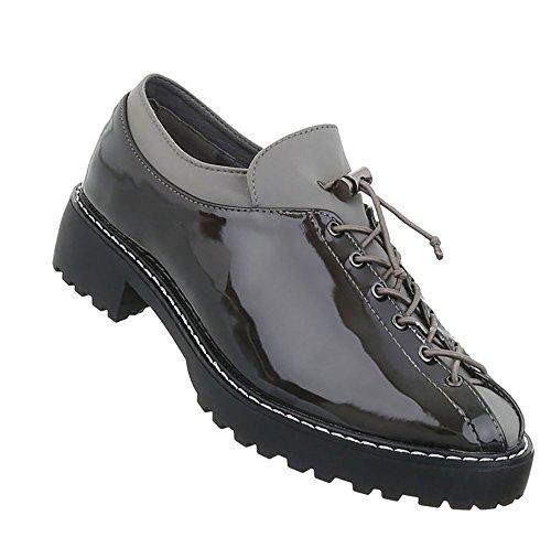 Damen Schuhe Halbschuhe Schnürer Grau