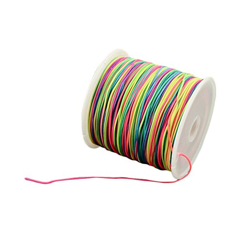 (arricraft 1 Roll 0.5mm Braided Nylon Cord Colorful Imitation Silk String Thread for DIY Craft and Jewelry Making )