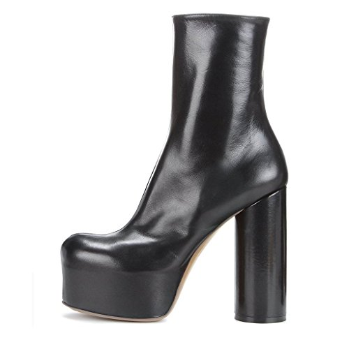 Ankle Round Toe Closed Shoes Pull 4 US Gorgeous Thick Heel FSJ On 15 Platform Black with Boots Size Women pYXnw1E