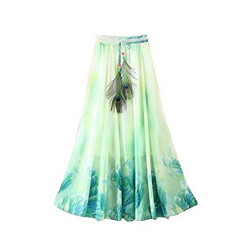 de Longue Ahatech Bohemienne de Mousseline pour Jupe lastique Ceinture Plage Ete Femme Color4 Jupe Jupe en Soie 455IUWB