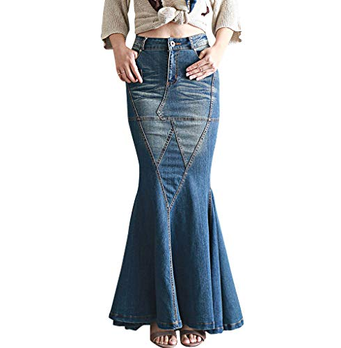 LISUEYNE Women's Casual Stretch Waist Washed Denim Ruffle Fishtail Skirts Long Jean Skirt (Blue, XX-Large)
