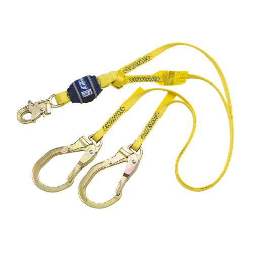 3M DBI-SALA EZ-Stop 1246024 Shock Absorbing Lanyard, 6' 100 Percent Tie-Off, Snap Hook At Center, Steel Rebar Hooks At Leg Ends, Navy/Yellow