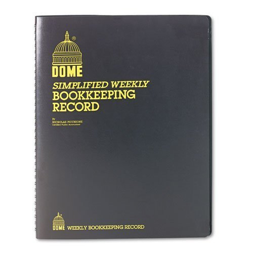 Dome Weekly Bookkeeping Record Book, 11in. x 9in., Brown PackageQuantity: 1 Style: Brown, Model:DOM600, Office Accessories & Supply Shop