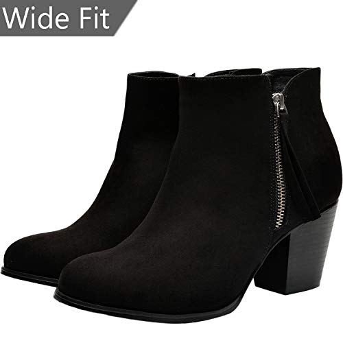 Women's Wide Width Ankle Booties - Comfort Mid Heel Casual Zipper Elastic Ankle Warm Boots.(180620 Black 10WW) ()