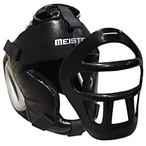 Leather Head Guard w/ Removable Face Mask for MMA & Boxing Headgear - Fits All