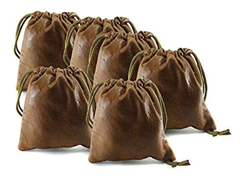 (Pack of 6 Chalk Factory Lambskin Leather Drawstrings Pouch: Tan, 7cm X 9cm)
