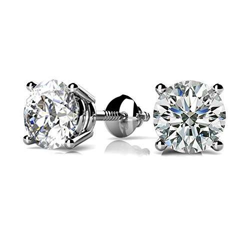 NYC Sterling Women Round Cubic Zirconia Screw Back Stud Earring 3 to 8 MM (5x5) (6 Prong Earrings)