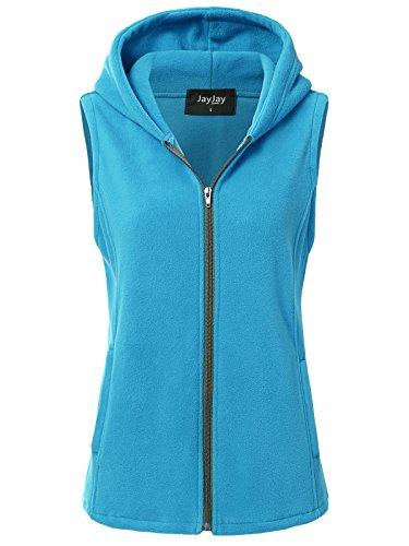 JayJay Women Ultra Soft Fleece Sleeveless Hoodie Vest,SkyBlue,M