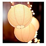10pcs/Lot - 8inch Warm White LED Lantern Lights Chinese Paper Ball Lampions for Wedding Party Decoration - Warm White
