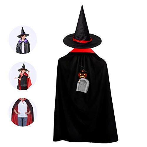 69PF-1 Halloween Cape Matching Witch Hat Scary Pumpkin Tombstone Wizard Cloak Masquerade Cosplay Custume Robe Kids/Boy/Girl Gift Red -
