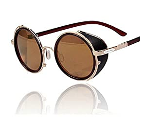 Arctic Star 80's Style Vintage Style Inspired Classic Round Sunglasses Very Popular (Golden frame)