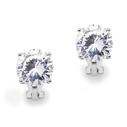 Mariell 3 Carat Cubic Zirconia Clip-On Stud Earrings - Bold 9.5mm Round-Cut Solitaires - Platinum (Clip Cushion Earrings)