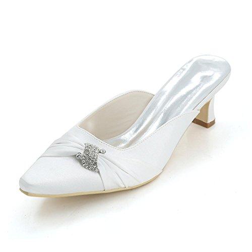 L@YC Tacones altos De Las Mujeres / Plataforma / Deslizadores Expuestos Del Dedo Del Pie Señalados / Wedding 0723-15B De Encargo White