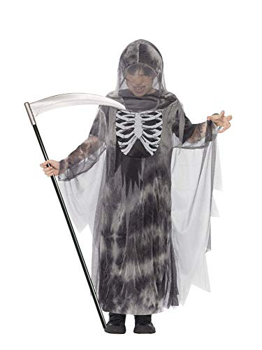 Smiffy's Children's Ghostly Ghoul Costume, Hooded Robe, Ages 7-9, Colour: Grey,]()