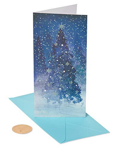 Papyrus Holiday Cards Boxed, Snowy Metallic and Glitter Trees (16-Count) (Unicef Cards Birthday)