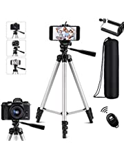 Extendable Tripod,Portable Lightweight Travel Tripod Stand with Carrying Bag,Adjustable Phone Tripod,Camera Tripod with Cell Phone Mount Holder & Bluetooth Remote,Compatible with iPhone/Android