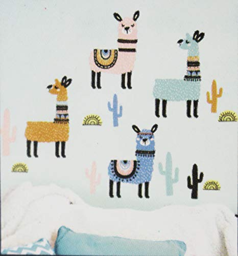 Living Room Llama Wall Sticker | Llamas with Cacti and Suns | DIY Self Sticking | Creative Decal | Bedroom Peel and Stick | Strong Vinyl