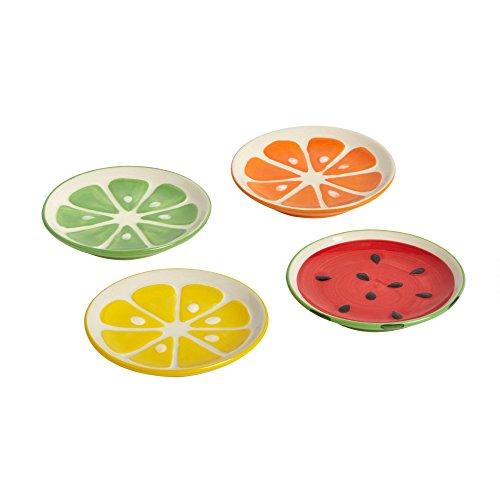 Secret Garden Lemon Lime Orange and Watermelon Ceramic Tidbit Plates, Set of 4