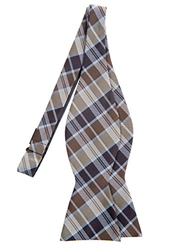 Retreez Modern Tartan Check Styles Woven Microfiber Self Tie Bow Tie - Brown
