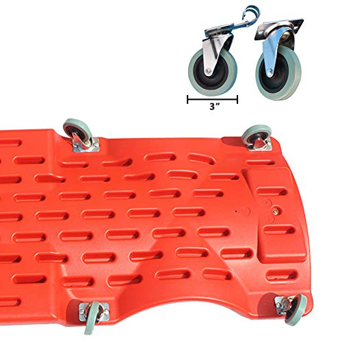 GOGOLO Mechanic Plastic 40'' Car Creeper Board with Led Light, Car Workshop Crawler Board Ergonomic Body & Padded Headrest & Dual Tool Trays, 200kg Capacity, Red by GOGOLO (Image #3)