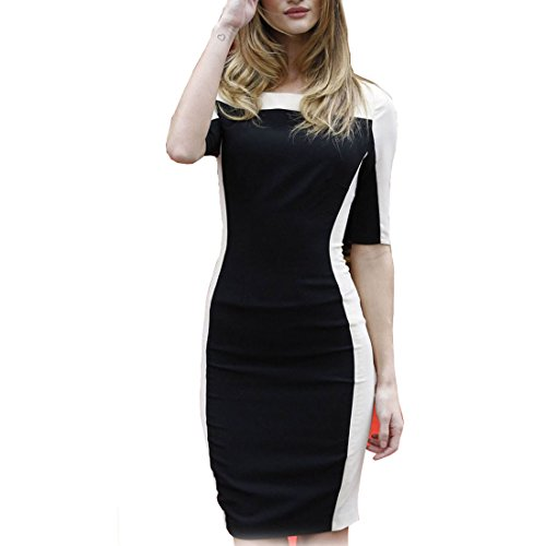 Missmay-Womens-Half-Sleeve-Contrast-White-Black-Bodycon-Slim-Pencil-Dress