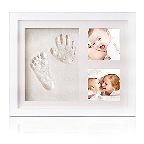 Baby Handprint and Footprint Photo Frame kit,for Boys and Girls,Perfect Baby Photo Frame Shower Keepsake Preserves Priceless Memories Best Gift For Baby Registry(white) Junxave