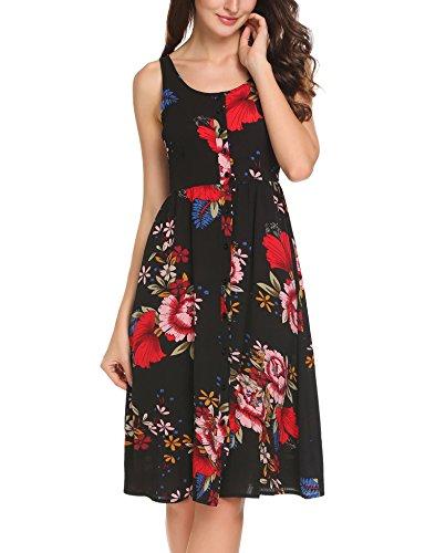 Line A Sundress Button Zeagoo A Sleeveless black2 Women's Flowy Up Print Floral wf8ZB